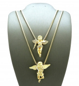 New ANGELS Micro Pendant & 60cm & 80cm Box Chain Small Hip Hop Necklace Set RC128G