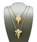 New ANGELS Micro Pendant & 60cm & 80cm Box Chain Small Hip Hop Necklace Set RC126G