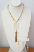 46cm Long Necklace with Shell Beads, Stone Beads, Cloisonne Beads and Stone Pendant and Tasell
