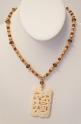 """41cm Necklace with Natural Bone """"FU"""" Good Luck Pendant"""