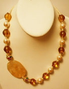 50cm Long Necklace with Fresh Water Pearls, Cloisonne Beads and Quartz Pendant