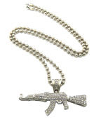 New Iced Out Machine Gun Hip Hop Pendant & 80cm Ball Chain Necklace -RC90BR