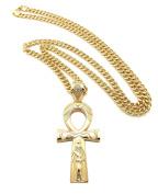 "New ANKH CROSS Hip Hop Pendant & 6mm/36"" Cuban Link Chain Necklace -XP935CG"
