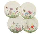 Gracie Bone China 19cm Dessert Plate, Assorted 4 Designs, Pink Green Meadow, Set of 4