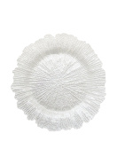 The Jay Companies Reef Glass Charger Plate, White