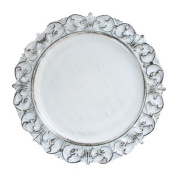 ChargeIt by Jay Embossed Antique Charger Plate, White