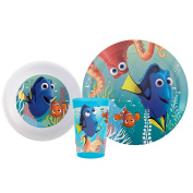 Zak! Designs 3-piece Mealtime Set includes Plate, Bowl, and Tumbler featuring Finding Dory Graphics, Break-resistant and BPA-free Plastic