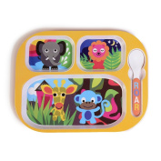 French Bull - Kids Everyday Food Tray - With Lid And Spoon - Kid Friendly BPA-free Melamine - Jungle