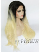 Exvogue Blonde Ombre Wigs Black Roots Synthetic Lace Front African American Natural Wig Long Straight Heat Resistant 100% Fibre Hair 2 Tone Colour (#1B/#613)
