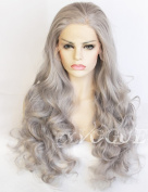 Exvogue Silver Grey Hair Wig for Women Wavy Lace Front Synthetic Hair Replacement Wigs with Side Part Natural Hairline Heat Friendly 100% Fibre