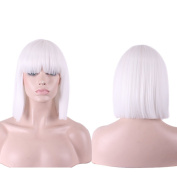 Kuulee Women¡¯s Short Bob Hair Full Wigs with Bangs Heat Resistant Synthetic Hair Kinky Straight Style for Cosplay