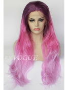Exvogue Purple Pink Ombre Wig Cosplay Natural Straight Long Synthetic Lace Front Wigs for Women and Girls Heat Resistant 100% Fibre Hair 3 Tones Colour