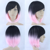Pink Cosplay Wigs Straight BOBO Wigs Short Women Black To Pink Synthetic Hair Heat Resistant Hair Wig