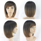Black To Brown Straight BOBO Wig Short Women Hair Cosplay Wigs Synthetic Heat Resistant Hair Wig