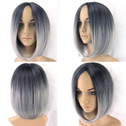 Short Black To Grey White Ombre Wigs Women Hair Cosplay Bob Wigs Synthetic Heat Resistant Hair Wig Grey Wig