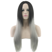 Long Black To Grey Ombre Wig Cosplay Wigs Synthetic Hair Heat Resistant Women Straight Grey Wig Perucas