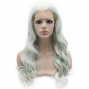 Mxangel Long 60cm Wavy Light Blue Synthetic Hair Lace Front Wig