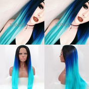 Glueless Straight Blue Ombre Synthetic Lace Front Wig Dark Roots Blue To Green Heat Resistant Wigs For Women
