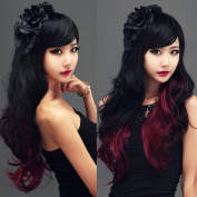 11 Colours Curly Hair Ombre Wig Cosplay Black To Red Synthetic Hair Wigs Pelucas Sinteticas