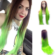 Fashion Straight Brown Ombre Green Synthetic Lace Front Wig 2Tone Heat Resistant Wigs For Women