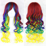 Women Heat Resistant Hair Wig Colourful Curly Cosplay Wigs Synthetic Lace Front Wig