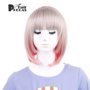 HairPhocas Lolita Short Straight Bob Light Grey Mix Pink Synthetic Hair Wig