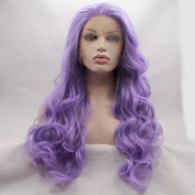 Body Wave Glueless Purple Synthetic Lace Front Wig With Heat Resistant For Women