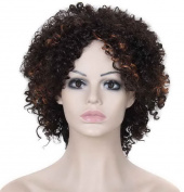 FEOYA Womens Girls Hair Wig 25cm Short Curly Loose Wave Synthetic Black