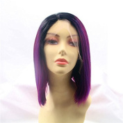 Dark Roots Purple Ombre Bob Synthetic Lace Front Wig Heat Resistant
