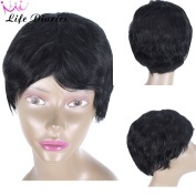 Life Diaries Cut Short Brazilian Human Hair Wig Natural Colour Natural Wave Curly Glueless Wig For Women