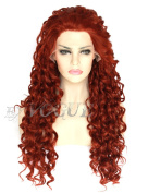 Exvogue Long Curly Dark Wine Red Wigs for Women Natural Hairline Synthetic Lace Front Wig Heat Friendly 100% Fibre Hair #350 Colour