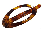 Parcelona French Small Plain Oval Savana Celluloid Acetate Ponytail Holder No Metal Hair Clip Barrette
