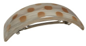 Parcelona French Curved Ivory Beige Dotted Hand Painted Celluloid Acetate Large Hair Clip Barrette for Thick Hair