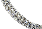 Bridal 2 Row Rhinestone Stretch Bracelet Silver Tone - Ideal for Wedding, Prom, Party or Pageant