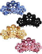 Prettyou 8.9cm Effortless Beauty Assorted Hollow flowers Hair patterns Hair Claws,4-count