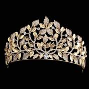 FUMUD Gold bridal crown tiaras fashion rhinestone leaves shape vintage wedding bridal headbands headwear