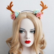 Bohemia Trend Small Deer Antlers Hair Bands Ears Flower Headband Girl Club Vacation Sweet Flower Hair Accessory