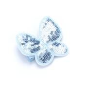 Girls Sequin Butterfly Hair Bun Clip - Blue
