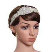 Babeyond Women's Flapper Hairband Crystal Wedding Headbands for Bride Great Gatsby Headband Silver Free Size