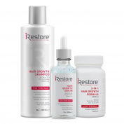 iRestore Fast Hair Restoration Bundle includes the 3-in-1 Hair Growth Formula, Serum, and Shampoo to Prevent Hair Loss and Thinning Hair and Promote Regrowth of Fuller Hair