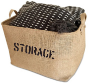 Large Jute Storage Bin 18 x 36cm x 25cm perfect for Toy Storage - Storage Basket for organising Baby Toys, Kids Toys, Baby Clothing, Children Books, Gift Baskets.