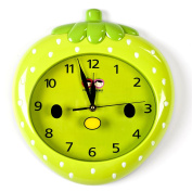 Wall Clocks For Kids (Green Strawberry) - Fun Colourful Design For Boy & Girls Room. Silent Non-Ticking Hand Best For Bedroom Nursery Playroom & Classroom Decor. Great For Teaching A Child To Read Time