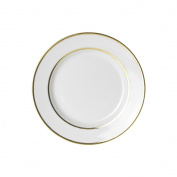 10 Strawberry Street GLD00046 Double Line Salad/Dessert Plate, Set of 6, White/Gold