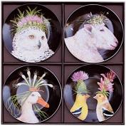 Paperproducts Design 28151 Bone China Appetiser Salad Plates (Set of 4), 18cm , Multicoloured