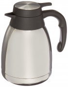 Genuine Joe GJO11952 Stainless Steel, Mirror-Finish Classic Vacuum-Insulated Carafe with Thumb Lever Lid, 1.2L Capacity, Steel/Grey