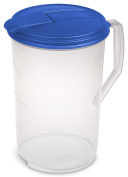 Sterilite 04884106 3.8l Round Pitcher, Blue Sky Lid & Tab with See-Through Base, 6-Pack