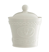 Belleek Pottery Claddagh Sugar/Condiment Bowl, White