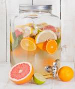 Estilo 7.6l Glass Single Mason Jar Beverage Drink Dispenser With Leak Free Spigot, Clear