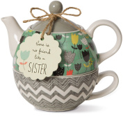 Pavilion Gift Company 74069 Bloom Sister Ceramic Tea for One, 440ml, Multicolor