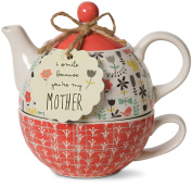 Pavilion Gift Company 74068 Bloom Mother Ceramic Tea for One, 440ml, Multicolor